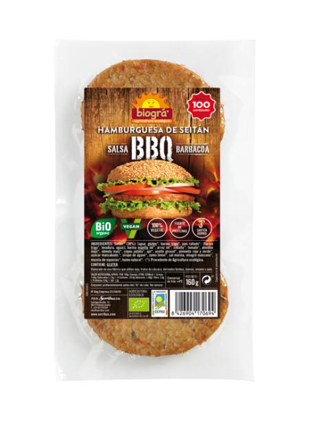 Hamburguesa BBQ (Seitán con salsa Barbacoa)
